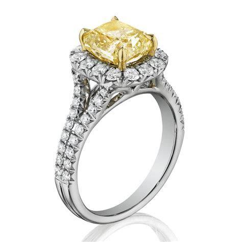 Henri Daussi AMDSY Yellow Diamond Cushion Engagement Ring
