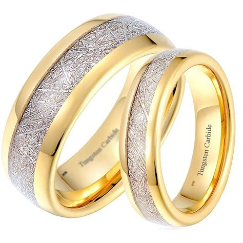 His and Hers Matching Gold Tone Tungsten Wedding Couple