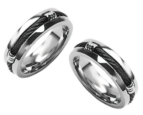 Titanium Wedding Ring For Men With Carbon Fiber Rope Inlay Sizes 9 To 14