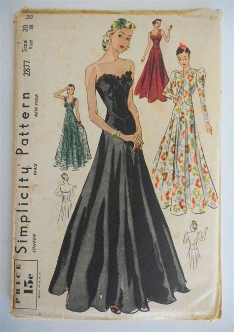 Vintage 1930s Simplicity Pattern Formal Gown Wedding Ball