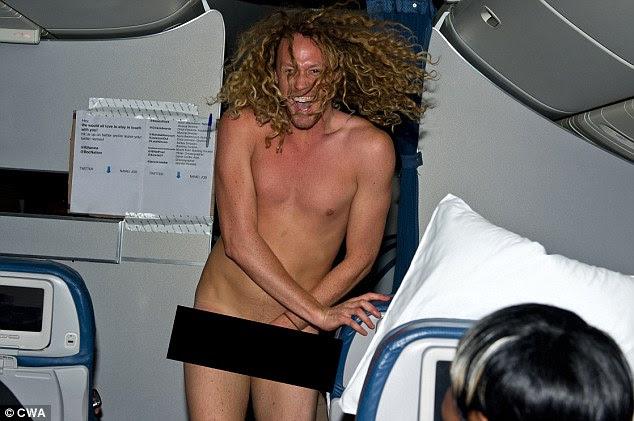 Showing his wild side: An Australian journalist strips and streaks on board on board Rihanna's 777 tour plane