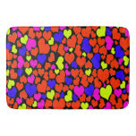 Bright Multicolored Hearts Bath Mats