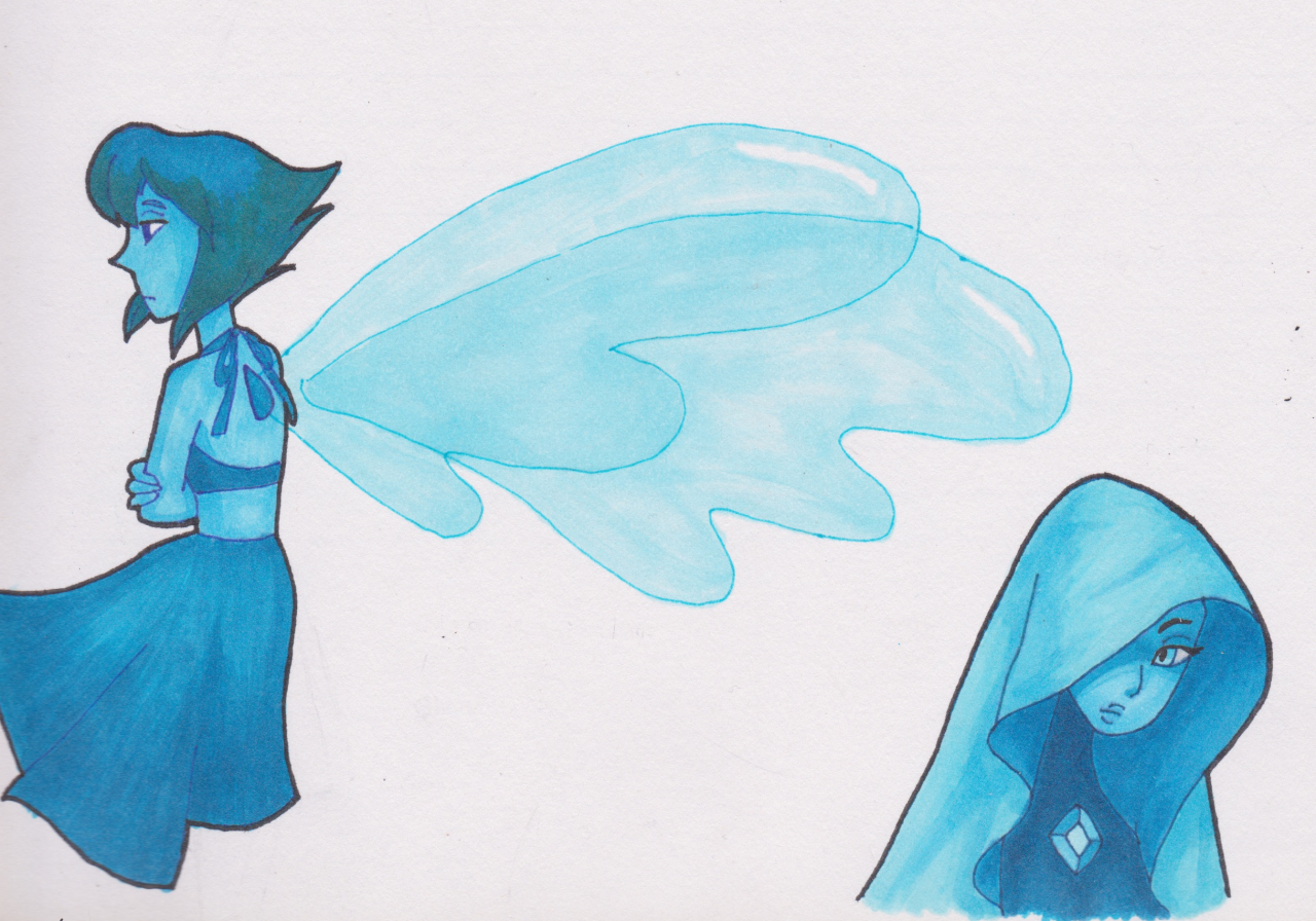 A bunch of Blue Gems :P First time using brush markers :D My scanner couldn't get the whole page, and Tumblr wouldn't let me post the whole thing so i had to cut it into smaller parts :(