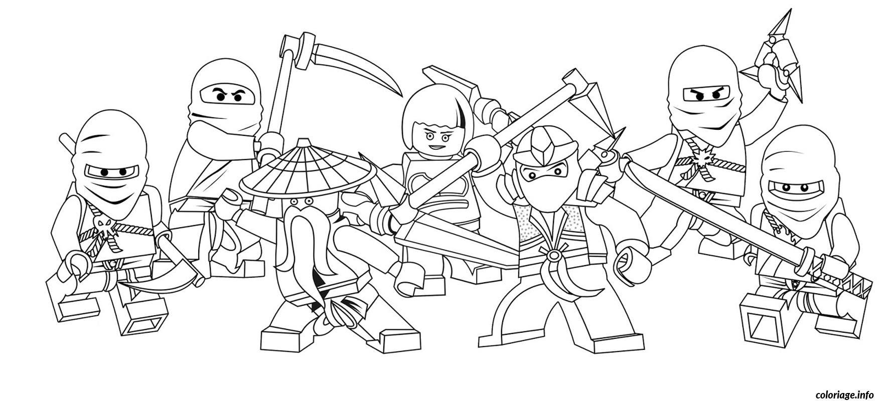Coloriage Ninjago Equipe plete Lego Dessin Dessin  Imprimer