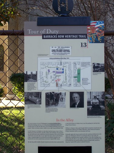 Archibald Walk alley, Barracks Row History Trail sign