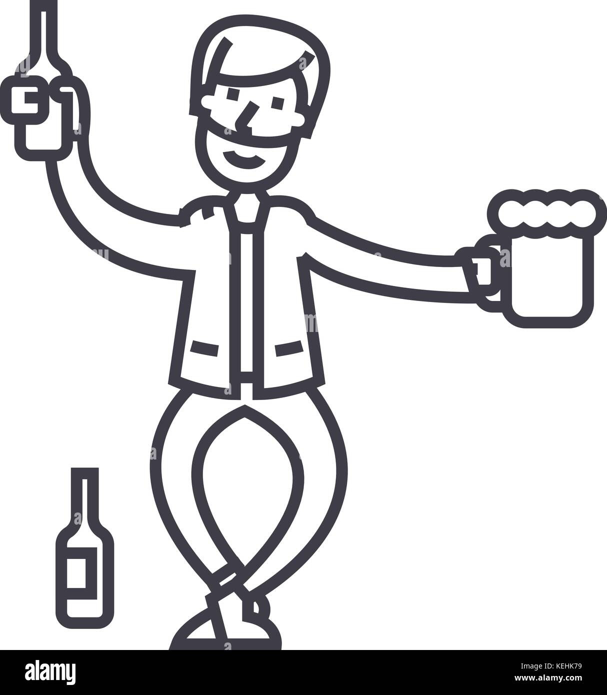 Drunk Man Vector Line Icon Sign Illustration On Background Stock
