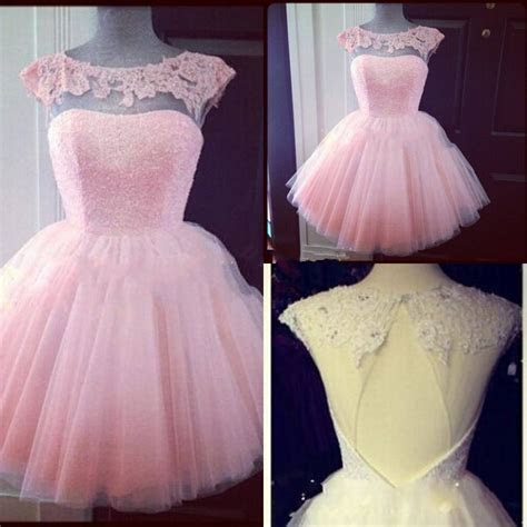 Cute Pink Lace Mini Homecoming Dress Simple Tulle Short