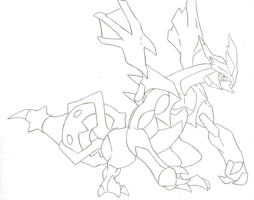 Coloriage pokemon noir et blanc kyurem