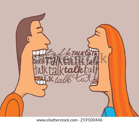 stock vector cartoon illustration of couple talking a lot and sharing a meaningful conversation 259500446