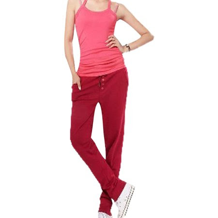 Women's Drawstring Waist Button Decor Casual Loose Harem Pants (Size XS \/ 2)