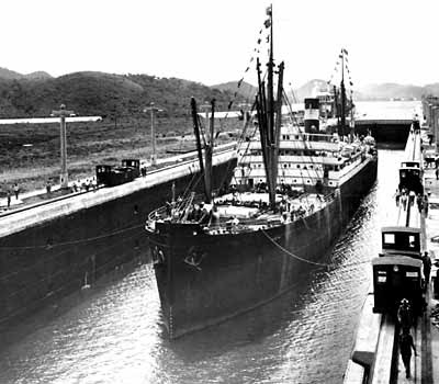 The official inaugural voyage on the Canal, made by the  'Ancon' in 1914