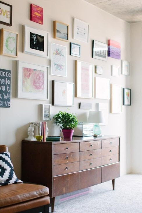 Gallery Wall & vintage dresser as console table