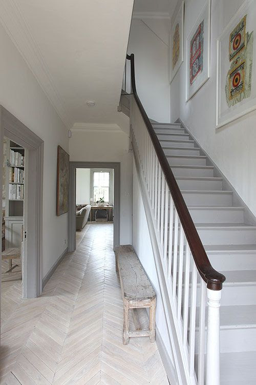 Beautiful stairs in grey and pale oak flooring