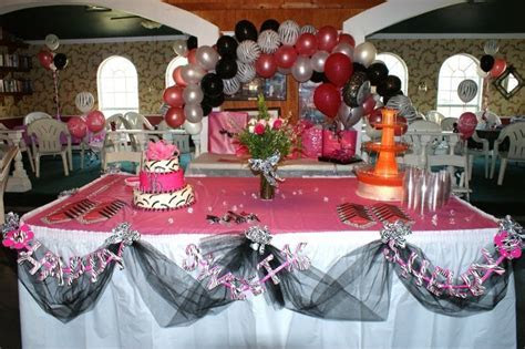 Shelby's Sweet 16 ~ Table set up cake, punch tower, swag