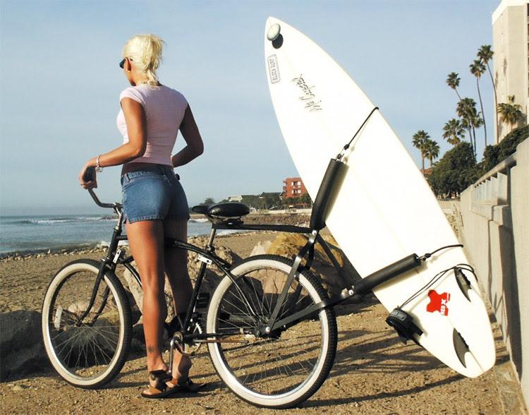 Surfboard bike rack: the Huntington Beach way