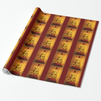 Burgundy Gold Christmas Tree Wrapping Paper Gift Wrap Paper