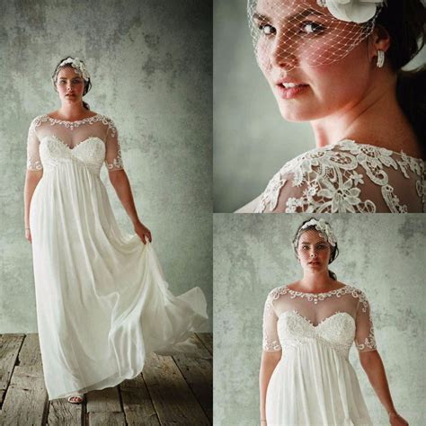 Vintage Plus Size Wedding Dresses With Sleeves Empire
