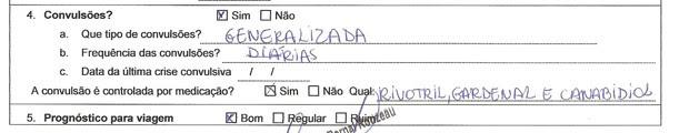 Trecho de formulário com informações médicas preenchido pelo médico que acompanha a criança e enviado pelo pai (Foto: Reprodução)