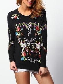 Black Round Neck Embroidered Sweatshirt