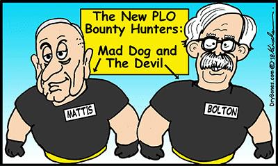 Dry Bones cartoon, Israel, Palestinians, bounty hunters, PLO, Mattis, Bolton, Trump,