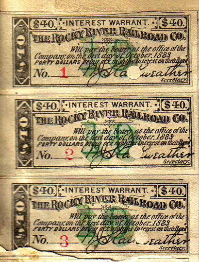 Rocky River Railroad Bond Coupons, 1883