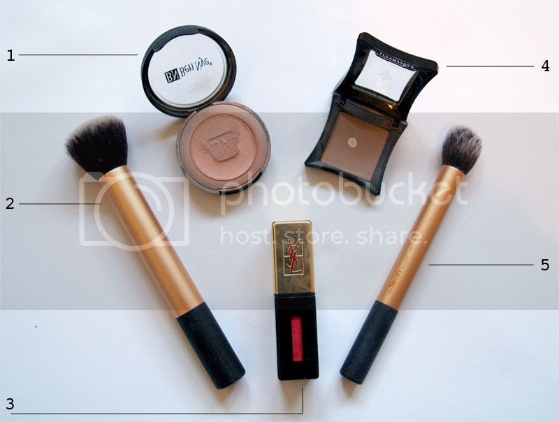 Makeup for contouring, blusher, face makeup brushes, lips, lip stain