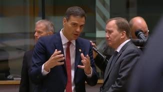 El president espanyol, Pedro Sánchez, avui a la cimera de la Comissió Europea
