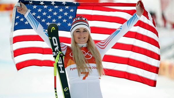 American alpine skier Lindsey Vonn won the Olympic bronze medal for her performance in the women's downhill competition...on February 21, 2018.