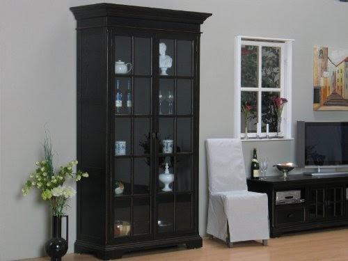 wohnzimmer ideen testen york vitrine vitrinenschrank 120x53x215 cm antik patiniert schwarz. Black Bedroom Furniture Sets. Home Design Ideas