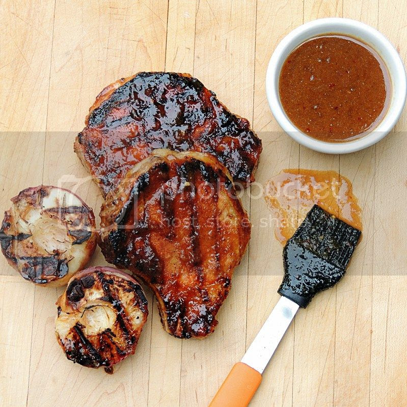 Grilled Pork Chops with Peach, Bourbon, Mustard Sauce