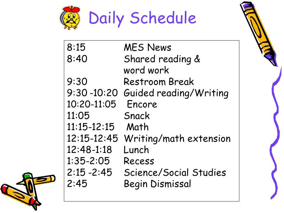 1st Grade Daily Schedule | Daily Agenda Calendar