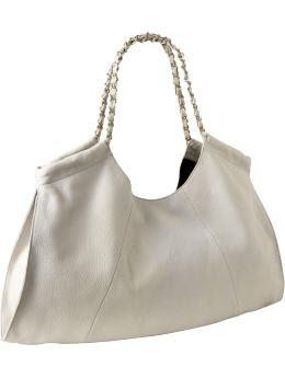 Women: Women's Chain-Link Leather Hobos - Concrete Gray