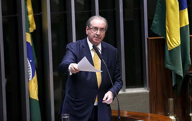 Eduardo Cunha (PMDB-RJ), ex-presidente da Câmara, faz sua defesa durante sessão em que será votada sua cassação, em Brasília (DF)