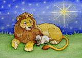 Free Lion and Lamb clipart image with cuddling.