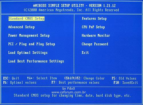 Tela inicial do Setup de BIOS AMI.