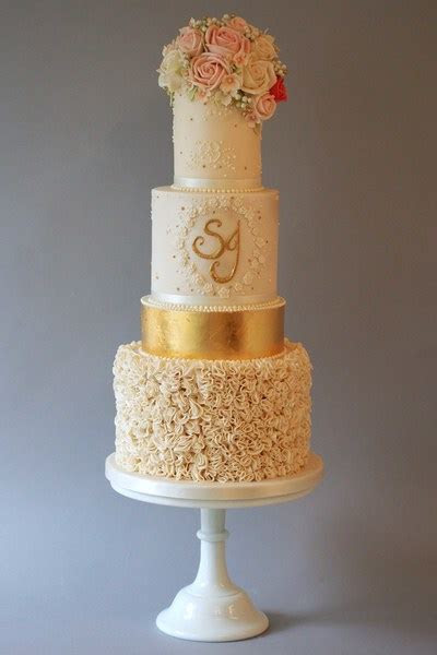 Three tier wedding cake with gold band   The Frostery