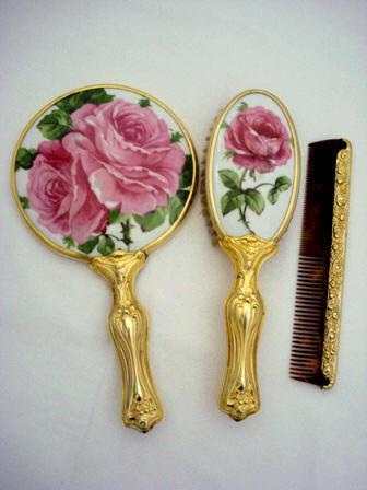 Art Nouveau Hand Mirror Brush Comb Set Antique Porcelain