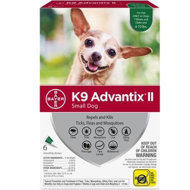 6 MONTH K9 Advantix II GREEN for Small Dogs (up to 10 lbs)