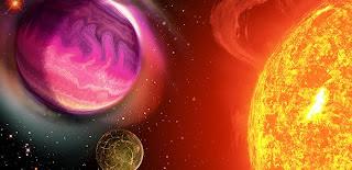 Ilustración de planetas orbitando una estrella por T. Riecken