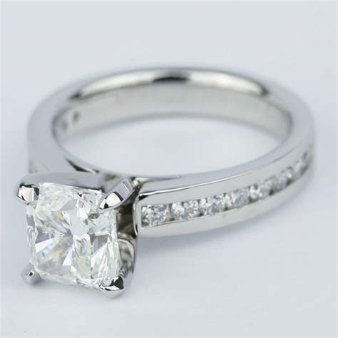 channel cathedral cushion diamond engagement ring  carat