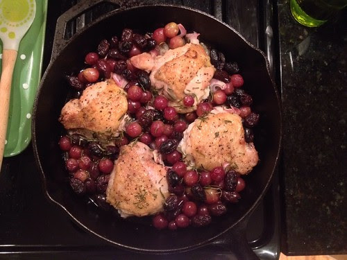 Harvest chicken with grapes olives and rosemary