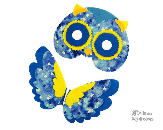 owl mask and wing set sewing pattern non sew DIY Felt fun easy copy