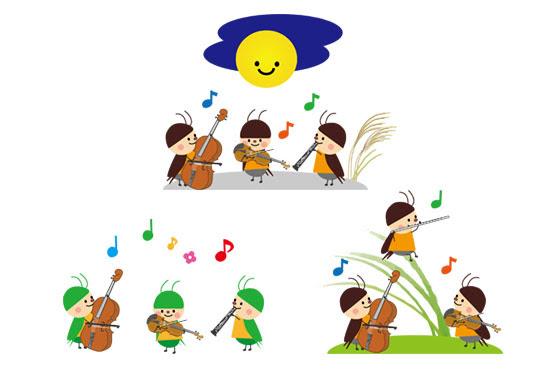 フリー素材 秋の虫たちの音楽会を描いた可愛いイラストバイオリンや