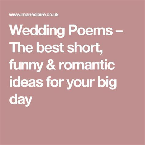 Wedding Poems ? The best short, funny & romantic ideas for