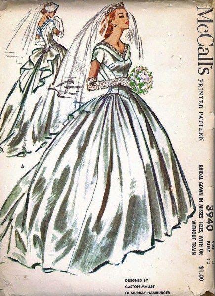 1950s Beautiful Wedding Gown Bridal Dress Pattern McCalls