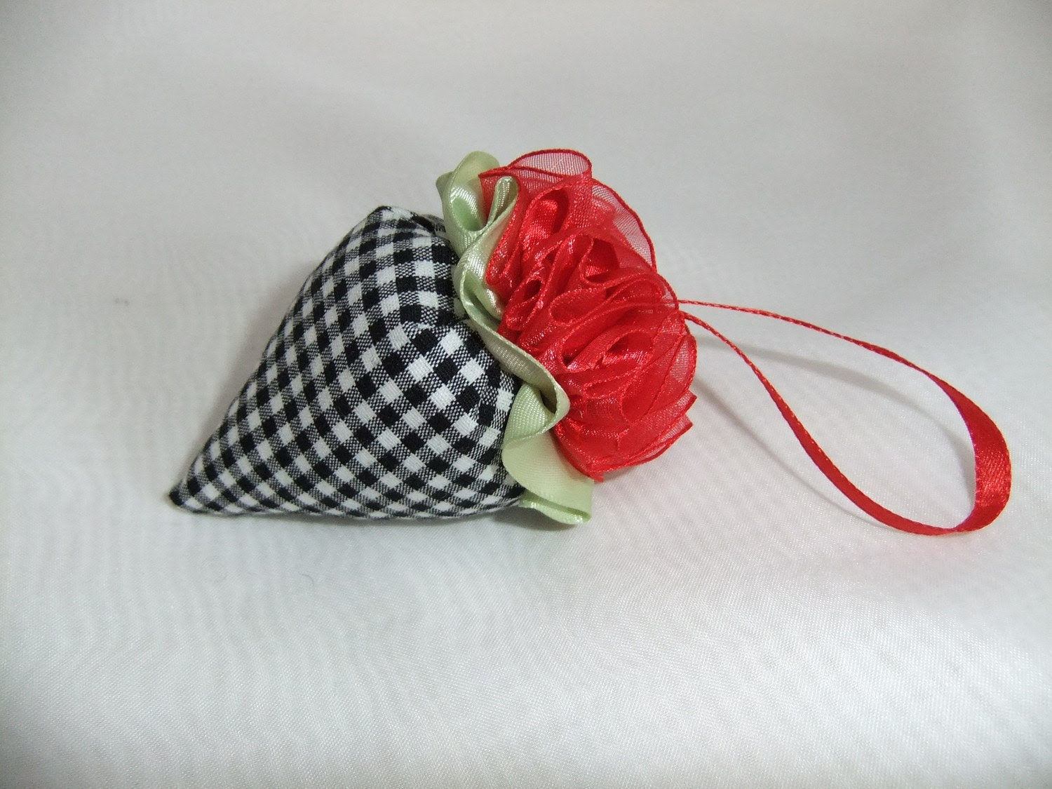Lavender Filled Sachet/Ornament Pincushion - Strawberry Style - 3 inches Long