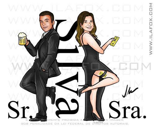 caricatura Sr e Sra Smith, caricatura proporcional, caricatura casal, by ila fox