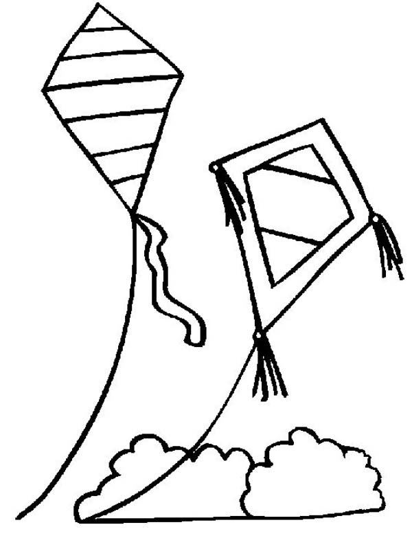 Kite Coloring Pages   Free download on ClipArtMag