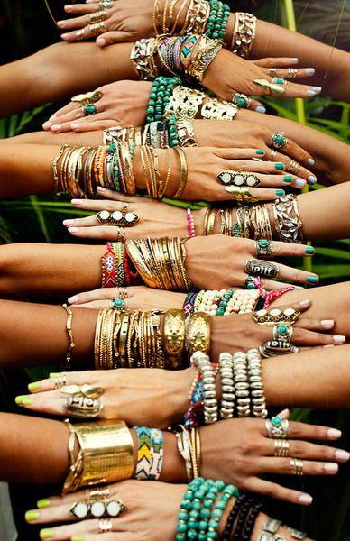 Layered hippie jewelry, stacked boho bracelets. For MORE Bohemian fashion FOLLOW http://www.pinterest.com/happygolicky/the-best-boho-chic-fashion-bohemian-jewelry-boho-w/
