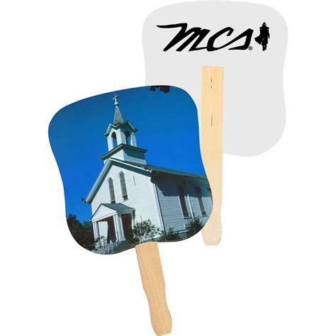 Personalized White Church Hand Fans   AK33052   DiscountMugs